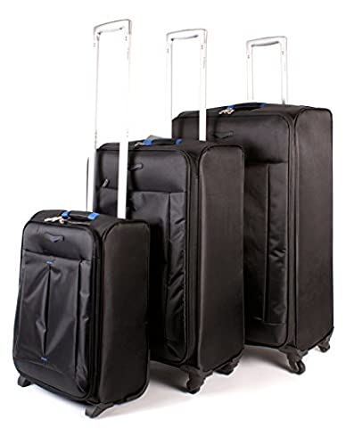 939-ST BLACK BLUE Sirocco Super Light Travel Suitcase Spinner Luggage Set of 3