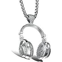 Aeici Collar de Joyas Hombres Acero Inoxidable Diseño Unico Auriculares de Música Rock