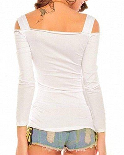 ZANZEA Femme Sexy Epaule Straps Chemise Slim Col V Blouse Manches Longues Shirt Blanc