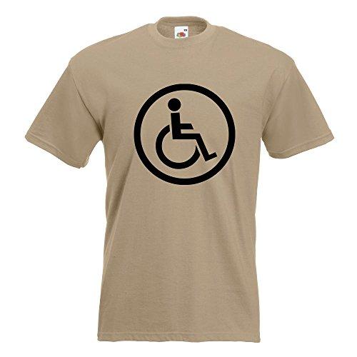 KIWISTAR - Rollstuhlfahrer Design 2 T-Shirt in 15 verschiedenen Farben - Herren Funshirt bedruckt Design Sprüche Spruch Motive Oberteil Baumwolle Print Größe S M L XL XXL Khaki