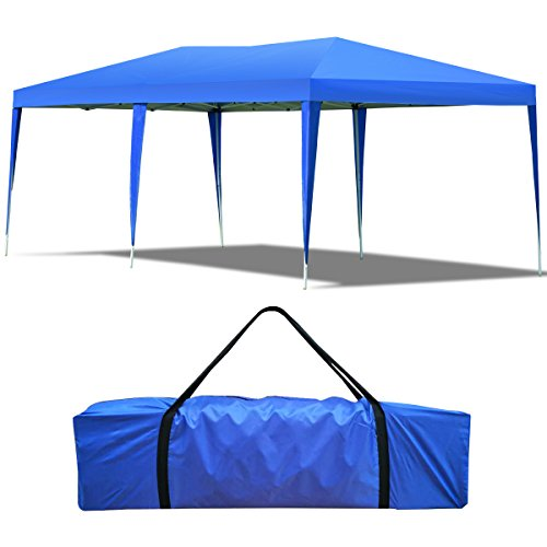 COSTWAY Faltpavillon Gartenpavillon Pavillon Faltzelt Partyzelt Gartenzelt Faltbar 3x6 m inkl. Tragetasche (Blau)