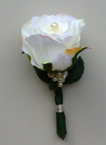 floristikvergleich.de Anstecker Hochzeit Bräutigam Hochzeitsanstecker Bräutigamanstecker weiße Rose #42721