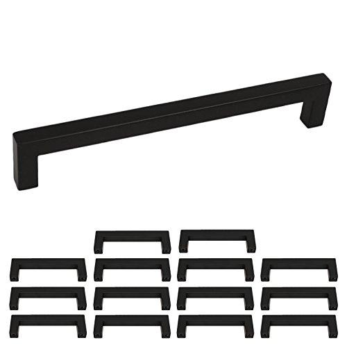 Tiradores de acero inoxidable con diseño cuadrado, color negro, para muebles, cocina,...