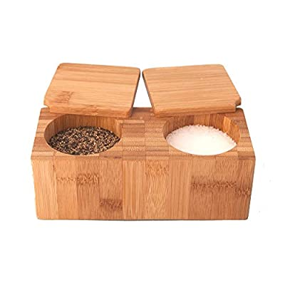 Bamboo Salt & Pepper Box - 100% Natural Wood by Simply Natural Bliss that is Environmentally Friendly - 2 Pot Box for Salt or Spices by Simply Natural Bliss