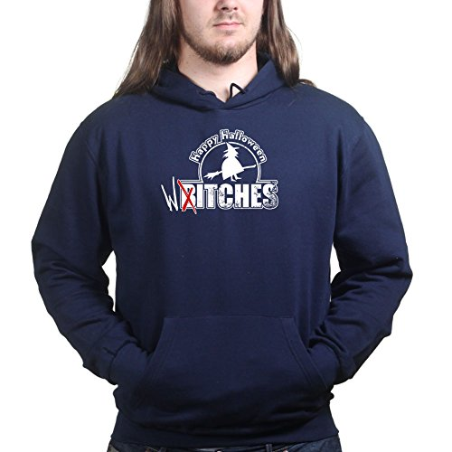 Mens Happy Halloween Witches Bitches Funny Hoodie 2XL Navy Blue