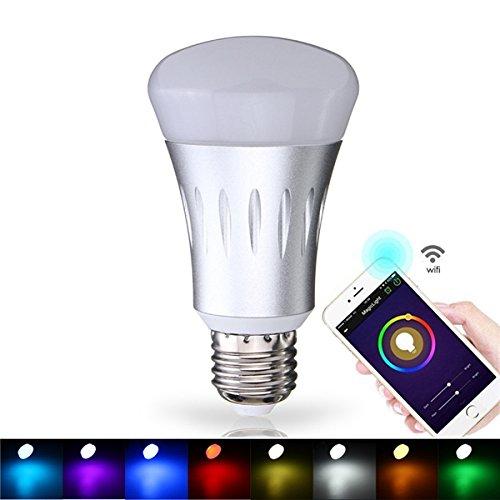 E27 7W RGBW LED Light Bulb Bluetooth WiFi Control Smart Music Audio Speaker Lamp AC85-265V