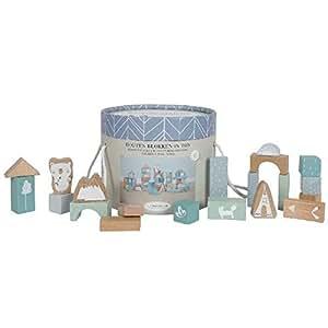 LITTLE DUTCH 4413 50 Holz-Bauklötze in Box adventure blau