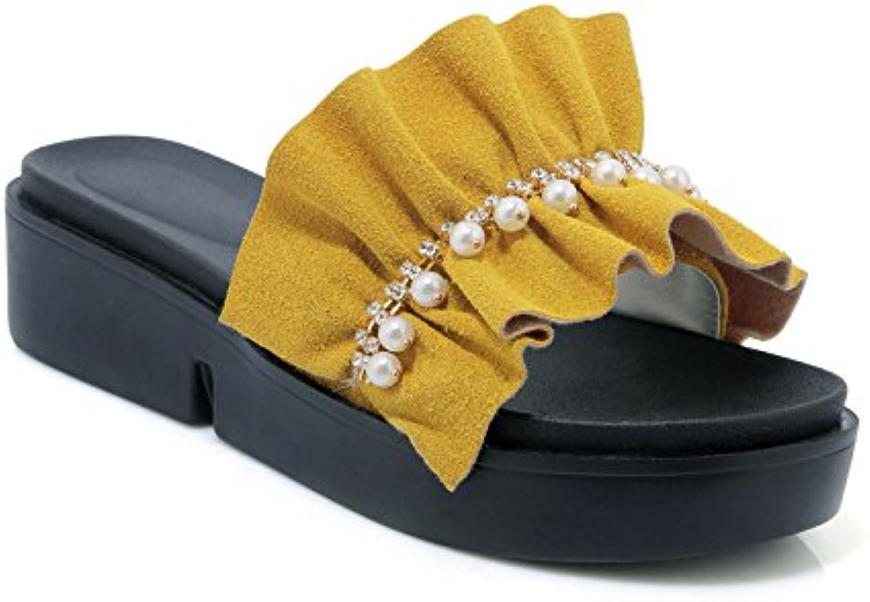 Sandalias Casuales de Las Mujeres, Zapatos de tacón, Zapatillas, Amarillo, 36
