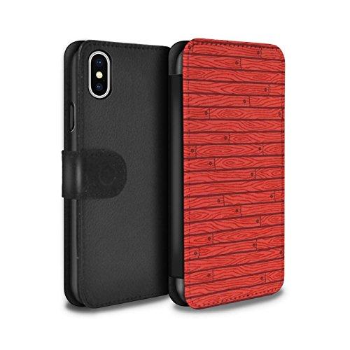 Stuff4 Coque/Etui/Housse Cuir PU Case/Cover pour Apple iPhone X/10 / Gris Design / Motif Bois Collection Rouge
