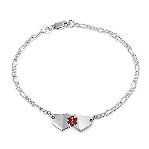 Two Hearts Red Enamel Cross Medical Alert ID Bracelet 925 Silver 7in with Engraving