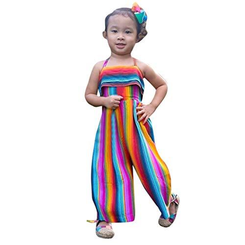 Obestseller Mädchenbekleidung,Kleinkind Baby Kinder Mädchen Regenbogen rückenfreie Strampler Overalls Kleidung Kinder ärmellose Halfter Halfter Sling Jumpsuit,Sommerkleidung