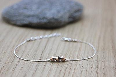Bracelet en argent massif 3 perles gold rose en cristal Swarovski