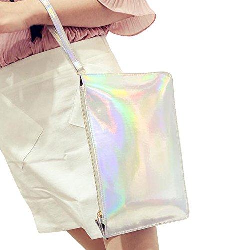 Familizo Borsa femminile del sacchetto della frizione del sacchetto della busta di sacchetto della frizione delle donne del laser di modo Argento