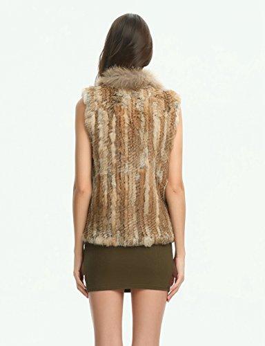 Ferand gestrickte Damen Winter Weste Jacke aus echtem Kaninchen Pelz mit Waschbär Pelzkragen, Taschen auf der Vorderseite und asymmetrischem Design Natural