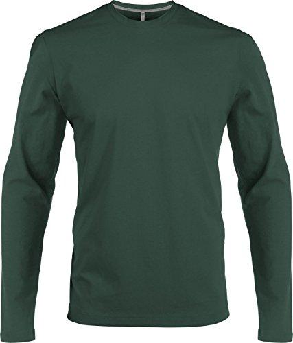 Herren T-Shirt Langarm Rundhals Shirt, leicht körperbetont, in 20 Farben und den Größen S, M, L, XL, 2XL, 3XL u. 4 XL von noTrash2003 Forest Green