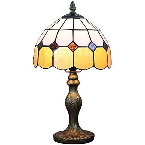 Gweat 8-Inch Tiffany stile mediterraneo Ambra Lampada da tavolo Lampada da comodino camera da letto (4 colori per scegliere)