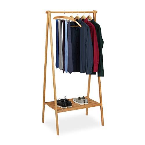 Relaxdays Kleiderständer Bambus, klappbarer Garderobenständer m. Ablage, platzsparend, Flur, HBT 170 x 83 x 56 cm, natur