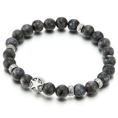 Herren Damen Perlen Armband mit 9MM Energie-Stein, Bettelarmband mit Pentagramm Wulst Charme, Dehnbare