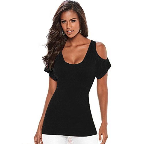Manadlian - T-shirts Blouse Off Épaule Femmes Top Manches Courtes T-Shirt Débardeurs Été Noir