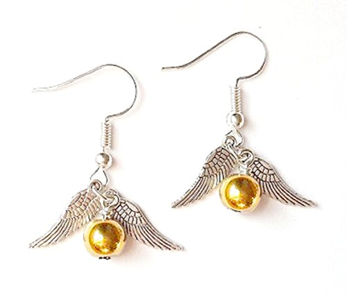 ORECCHINI CON PENDENTE GOLDEN SNITCH BOCCINO D ' ORO HARRY POTTER - IDEA REGALO