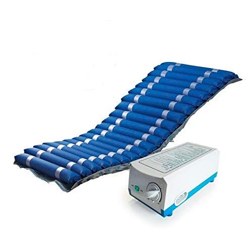 Colchón antiescaras de aire, Con compresor, Nylon y PVC, 200 x 86 x 9.5, 20 celdas, Azul