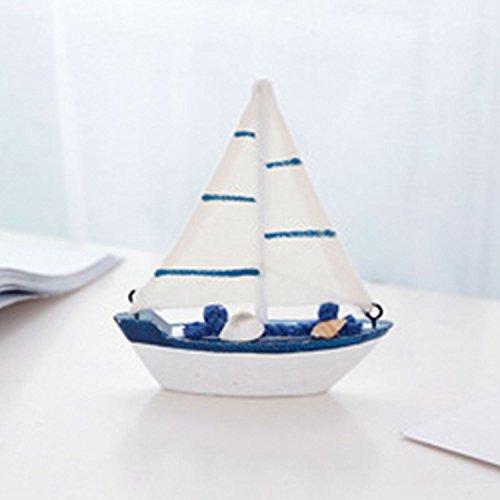 REFURBISHHOUSE Handgefertigte Massivholz Segelboot mediterranen Stil Dekorationen Schiessen Kleine Ornamente kreative Segelboot Modell Handwerk Schaukel (C)