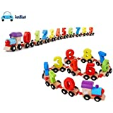 FunBlast® Wooden Digital Colourful Train, Educational Model Vehicle Toys , Vehicle Pattern 0 to 9 Number, Educational Learning Toys for Kids,Boys,Girls,Children