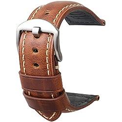 Reloj Correa Retro Panerai Reloj de Pulsera de Cuero para Hombres 20 mm 22 mm 24 mm Adecuado para el Reloj Tradicional de Moda Deportiva Reloj Elegante Correa de Brown Grande Hebilla20mm