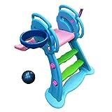 PNFP Scivolo Pieghevole for Bambini, Giocattoli di plastica for Bambini Pallacanestro Scivolo all'aperto da Giardino Parco Giochi, Pedaliera e Scivolo a Onde 1,31 M, Adatto for Bambini da 0 a 6 Anni,