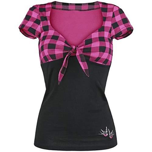 B-commerce Damen Zauberfarbe Bogen V-Ausschnitt Kariertes kurzärmliges Hemd Strecth Fitted Slim Pullover Tops Damen Bluse - Womens Clearance Taschen Gürtel