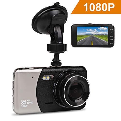 Telecamera per auto, jc beauty dash cam full hd 1080p dvr, 2 lenti 170 gradi, rilevatore di movimento, registrazione in loop continua, g-sensor, monitor di parcheggio(3 anni di garanzia)