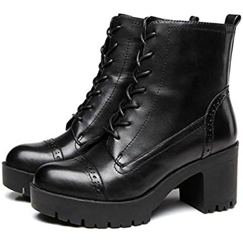 Ladies in pelle vintage inverno boot spazzolare con grossa testa con Martin stivali stivali tacco alto , black leather , 36