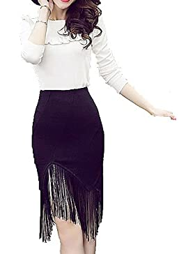 Faldas Bodycon Show fino paquete falda suave femenina empalmar las borlas de la mujer corta atractiva , 2xl
