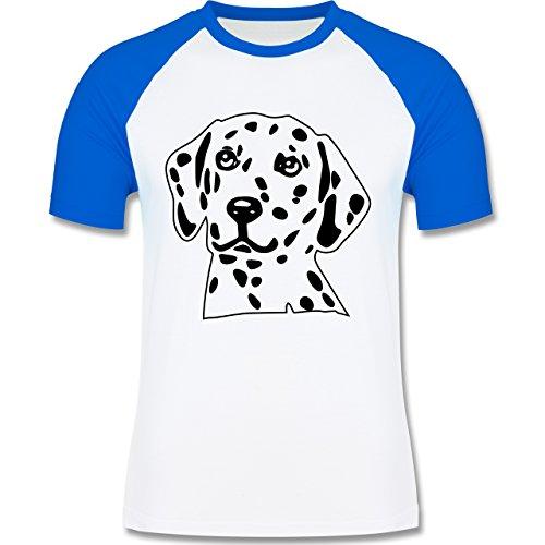 Hunde - Dalmatiner - zweifarbiges Baseballshirt für Männer Weiß/Royalblau