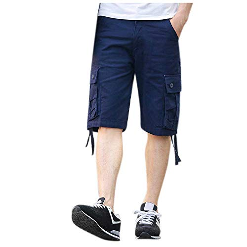 Aiserkly Herren Sommer Multi-Pocket Overalls Shorts Cargo Kurze Slim Fit Arbeitshose Pleated Freizeithose Hose - Cord-bundfalten-shorts