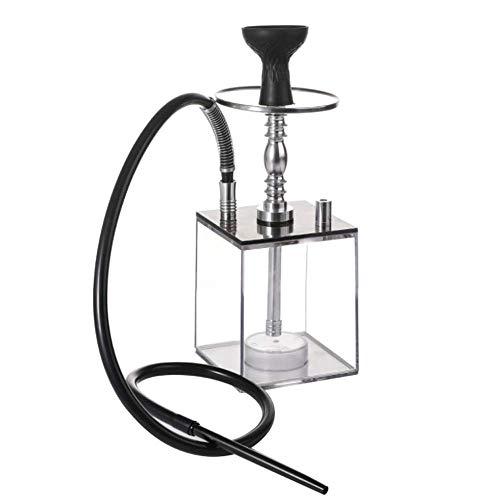 HuAma Kleine Und Mittlere Shisha Rauchen - Zubehör Wasserpfeife Schwarz Klar Led Shisha Wasserpfeife One Hose Big Smoke Acryl Wasserpfeife Set