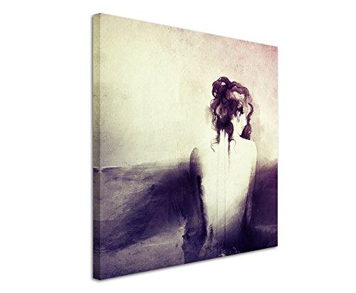 80 x 80 cm dipinto murale foto tela in colore malva astratto impulsfoto donna