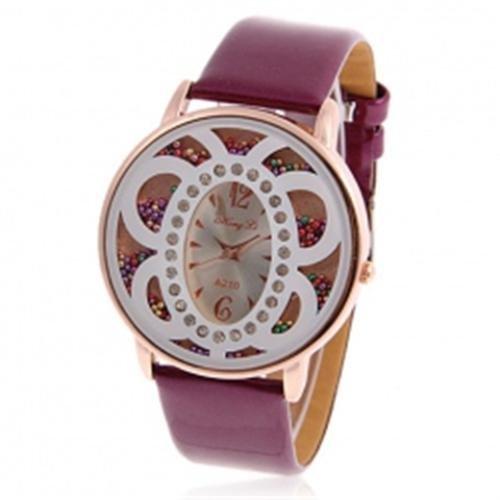 farfalla-viola-perlina-in-cuoio-alla-moda-orologio