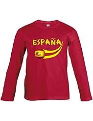 Supportershop–Camiseta España Rojo L/S niños Fútbol, T-shirt Espagne rouge L/S enfant, rojo, 12 años