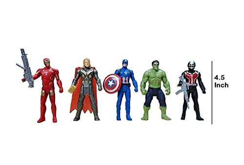 Vikas gift gallery Avengers Toys Set - Captain America, Ironman, Hulk, ant Man and Thor - 5 Action Hero Collection ( Multicolor) [ Avengers Height - 4.5 inches