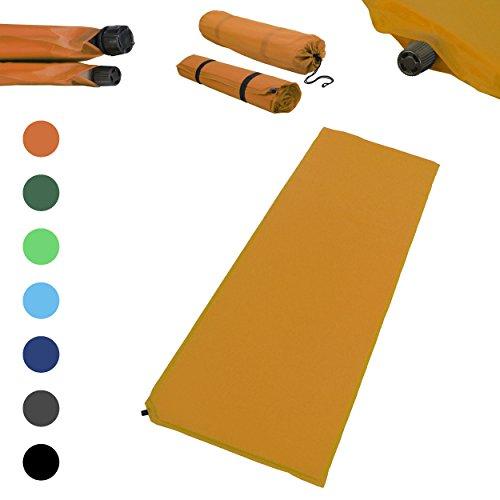 Outdoor Isomatte, selbstaufblasend, ca. 2 m Länge, inkl. Flick Set - selbstaufblasbare Luftmatratze geeignet zum Camping und fürs Zelt mit kleinem Packmaß (orange, 10 cm Polsterdicke)