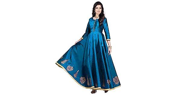 5d34b002b4 saptarangi Women s Taffeta Silk Dress (Sky