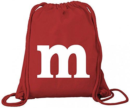Kostüm Beutel M&m - Schokoladen Schoko Fasching Karneval Premium Bio Baumwoll Turnbeutel Rucksack Stanley Stella Kostüm mit M Aufdruck, Größe: onesize,Red