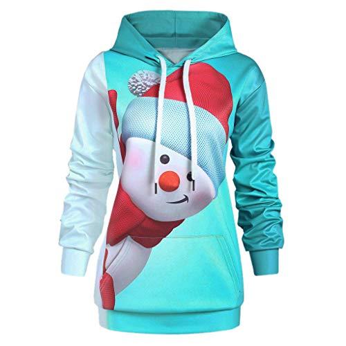 Riou Weihnachtskleid Pulloverkleid Damen Herbst Langarm Schneeflock Lang Gedruck Knielang Hoodie Sweatshirt Blouse Kleider (4XL, Mehrfarbig)