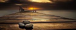 Artland Qualitätsbilder I Glasbilder Deko Glas Bilder 125 x 50 cm Landschaften Sonnenaufgang Fluss Foto Braun D3HR Schwarzes Meer Küste Varna Bulgarien
