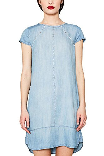 edc by ESPRIT Damen Kleid 067CC1E024, Blau (Blue Light Wash 903), Large