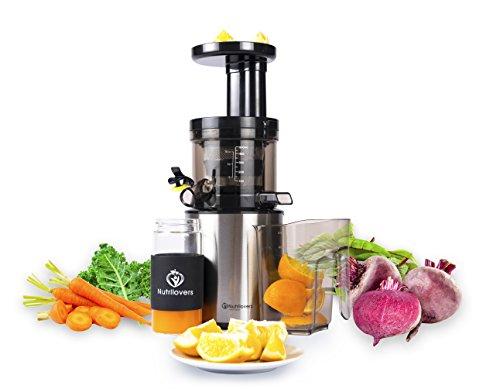 nutril Overs spremiagrumi Slow Juicer, 100% di succo di micro setaccio, Centrifuga per Frutta e verdura, molto basso numero di giri, facile da pulire Extra bottiglia di vetro, Spazzola per la pulizia e libro di ricette, Acciaio Inossidabile