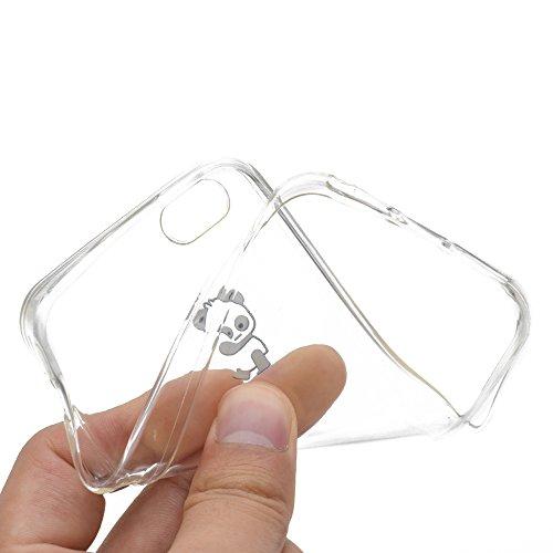 Sycode Custodia per iPhone 5 5S,Cover per iPhone 5S,Silicone Trasparente Case per iPhone SE 5S 5,Liquido Cristallo Chiaro Carina Divertente Motivo Cartone Sinistra Panda Morbida Flessibile Silicone Ge Sinistra Panda