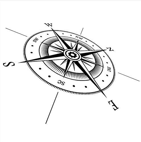 Ljtao Kompass Wandaufkleber Vinyl Kompass Nord Süd Ost West Punkte Wandtattoo Vinyl Wand Kunst Wandbild Richtung Design Decor77X57Cm