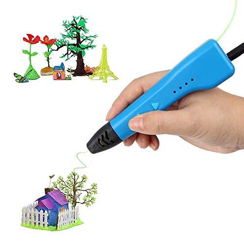 Soyan 3D Drucker Stift Set für Kinder,USB Arbeiten mit ABS & Pla Filament (Blau)